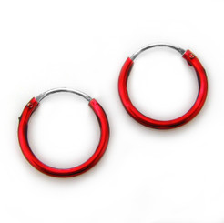 Sterling Silver Color Coated 12mm Hoop Earrings, Red
