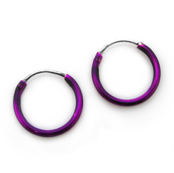 Sterling Silver Color Coated 12mm Hoop Earrings, Purple
