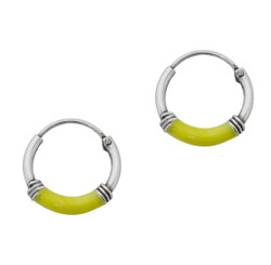 Sterling Silver Color Coated Center Bali Coils 12mm Hoop Earrings, Yellow