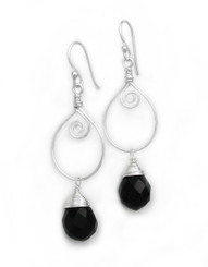 Sterling Silver Wire Work Teardrop Charm Stone Drop Earrings, Black