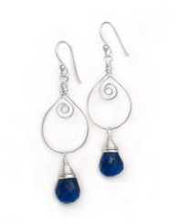 Sterling Silver Wire Work Teardrop Charm Stone Drop Earrings, Midnight Blue