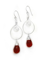 Sterling Silver Wire Work Teardrop Charm Stone Drop Earrings, Red