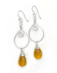 Sterling Silver Wire Work Teardrop Charm Stone Drop Earrings, Yellow