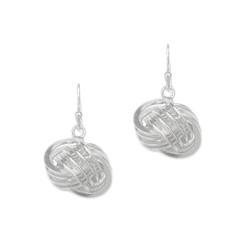 Sterling Silver Trinity Coil Knot Drop Earrings
