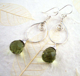 Sterling Silver Wire Work Teardrop Charm Stone Drop Earrings, Olive Green
