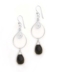 Sterling Silver Wire Work Teardrop Charm Stone Drop Earrings, Smoky