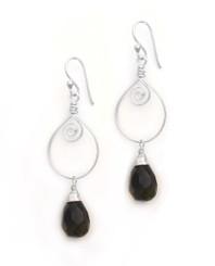 Sterling Silver Wire Work Teardrop Charm Stone Drop Earrings, Smoky