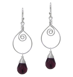 Sterling Silver Wire Work Teardrop Charm Stone Drop Earrings, Purple