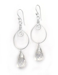 Sterling Silver Wire Work Teardrop Charm Stone Drop Earrings, Clear
