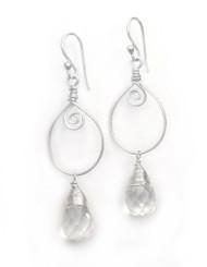 Sterling Silver Wire Work Teardrop Charm Stone Drop Earrings, Clear