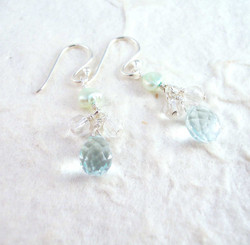 Sterling Silver Suzie Teardrop Cultured Pearl Beads Drop Earrings, Aqua