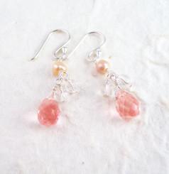 Sterling Silver Suzie Teardrop Cultured Pearl Beads Drop Earrings, Cherry Quartz