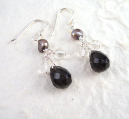 Sterling Silver Suzie Teardrop Cultured Pearl Beads Drop Earrings, Black
