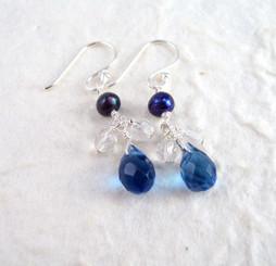 Sterling Silver Suzie Teardrop Cultured Pearl Beads Drop Earrings, Midnight Blue