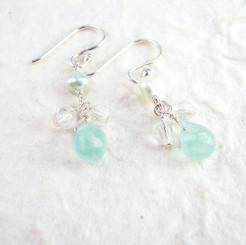 Sterling Silver Suzie Teardrop Cultured Pearl Beads Drop Earrings, Ocean Blue