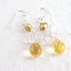 Sterling Silver Suzie Teardrop Cultured Pearl Beads Drop Earrings, Yellow