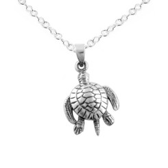 Sterling Silver Movable Sea Turtle Necklace, CH-1.9
