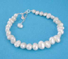 """Modern Cultured Freshwater Pearl Bracelet, 7.5"""", White"""
