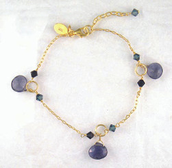 Gold Plated Sterling Silver Circle Charm Crystal Accent Drop Bracelet, Iolite