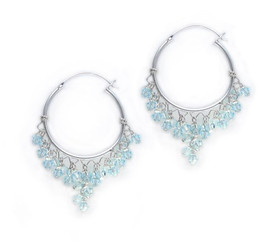 Sterling Silver Hoop Swarovski Elements Crystals Earrings, Light Blue