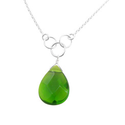 Sterling Silver Teardrop  Three Circle Link Necklace, Spring Green