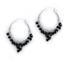 Sterling Silver Hoop Swarovski Elements Crystals Earrings, Black
