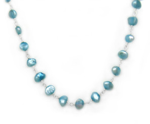 Sterling Silver Cultured Pearl Wirewrapped Link Necklace, Sky Blue