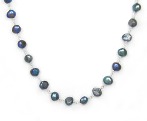 Sterling Silver Cultured Pearl Wirewrapped Link Necklace, Peacock