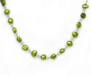 Sterling Silver Cultured Pearl Wirewrapped Link Necklace, Spring Green