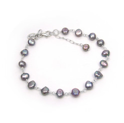 Sterling Silver Cultured Pearl Wirewarpped Link Bracelet, Gray