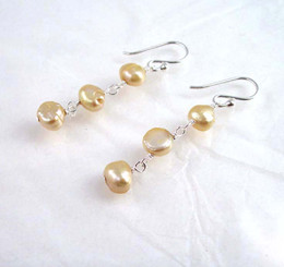 Sterling Silver Cultured Pearl Wirewrapped Link Earrings, Champagne
