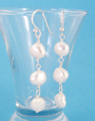 Sterling Silver Cultured Pearl Wirewrapped Link Earrings, White