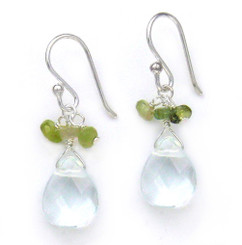 Sterling Silver Crystal Briolette Drops and Stone Cluster Earrings, Aqua