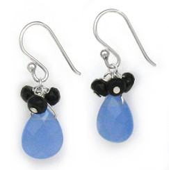 Sterling Silver Crystal Briolette Drops and Stone Cluster Earrings, Ocean Blue