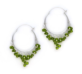 Sterling Silver Hoop Swarovski Elements Crystals Earrings, Olivine