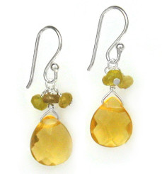 Sterling Silver Crystal Briolette Drops and Stone Cluster Earrings, Yellow