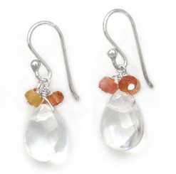 Sterling Silver Crystal Briolette Drops and Stone Cluster Earrings, Clear