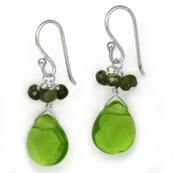 Sterling Silver Crystal Briolette Drops and Stone Cluster Earrings, Spring Green