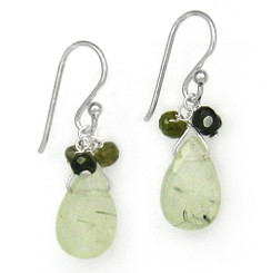 Sterling Silver Stone Briolette Drops and Stone Cluster Earrings, Prehnite
