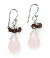Sterling Silver Crystal Briolette Drops and Stone Cluster Earrings, Pink