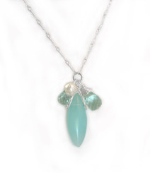 Sterling Silver Eliptical Cut Stone Cluster Pendant Necklace, Aqua