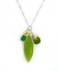 Sterling Silver Eliptical Cut Stone Cluster Pendant Necklace, Spring Green