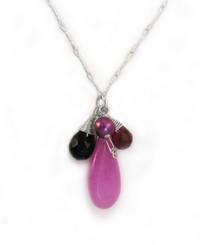 Sterling Silver Eliptical Cut Stone Cluster Pendant Necklace, Purple