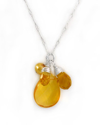 Sterling Silver Eliptical Cut Stone Cluster Pendant Necklace, Yellow