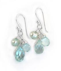 Sterling Silver Teardrop Stone Cluster Drop Earrings, Aqua