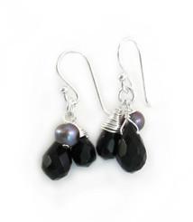 Sterling Silver Teardrop Stone Cluster Drop Earrings, Black