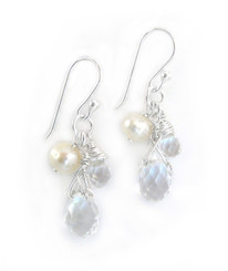 Sterling Silver Teardrop Stone Cluster Drop Earrings, Clear