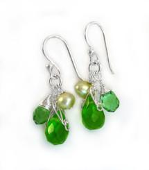 Sterling Silver Teardrop Stone Cluster Drop Earrings, Spring Green