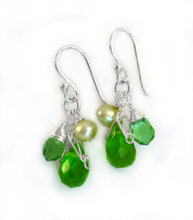 Sterling Silver Teardrop Stone Cluster Drop Earrings, Spring Green