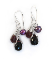 Sterling Silver Teardrop Stone Cluster Drop Earrings, Purple